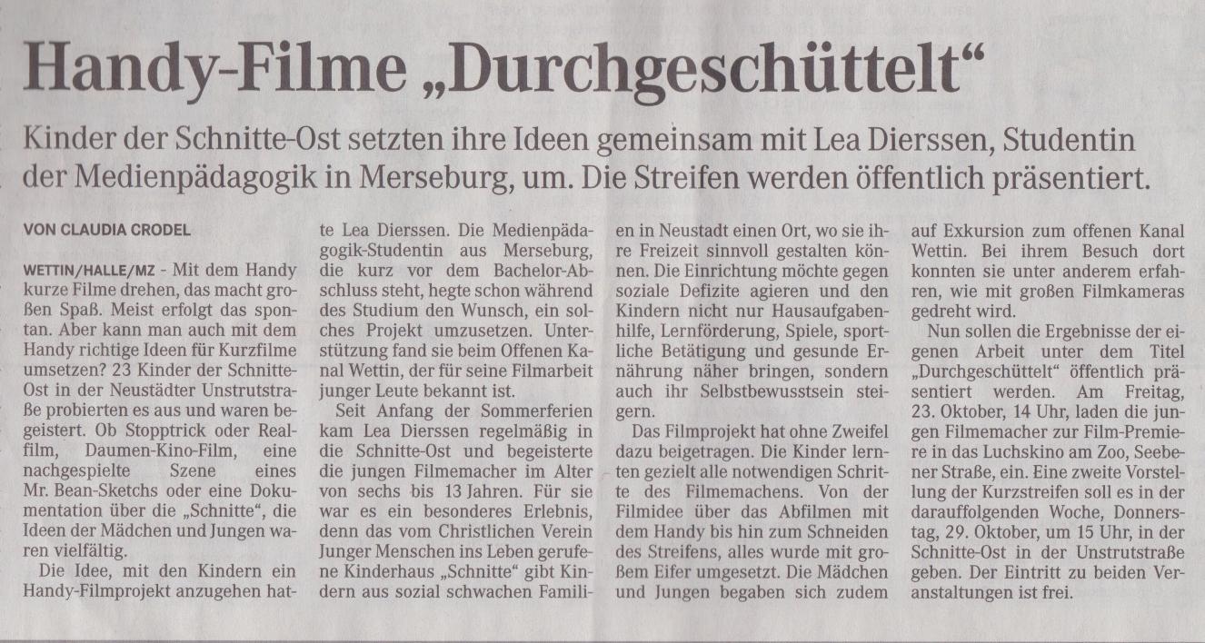 Zeitungsartikel Mitteldeutsche Zeitung vom 21.Okt.2015